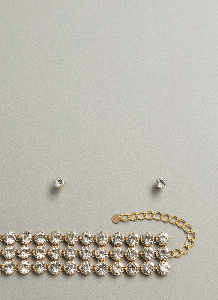 Girl In Diamonds Jeweled Necklace Set GOLD