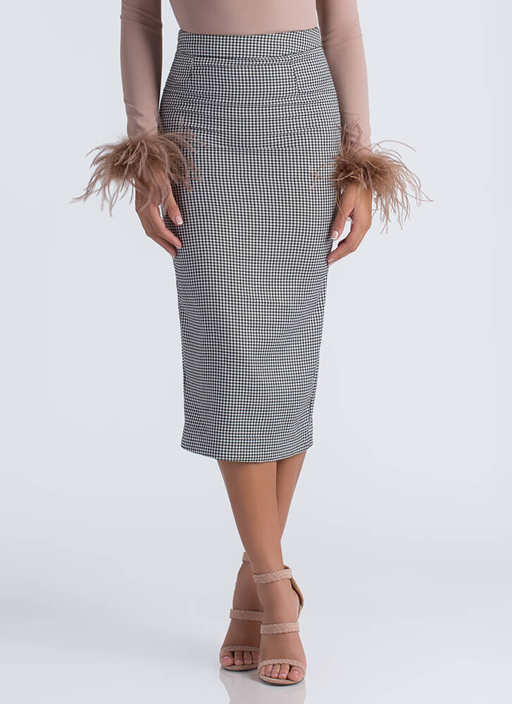 Pencil Me In Houndstooth Print Skirt BLACKWHITE