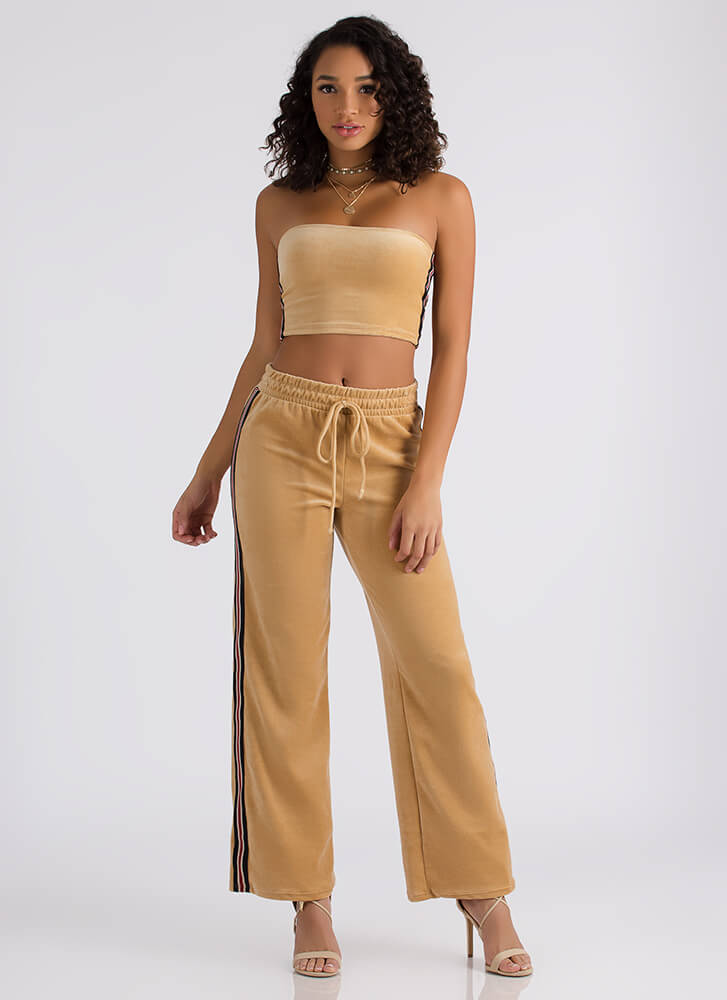 Terry On Striped Tube Top And Pant Set CAMEL