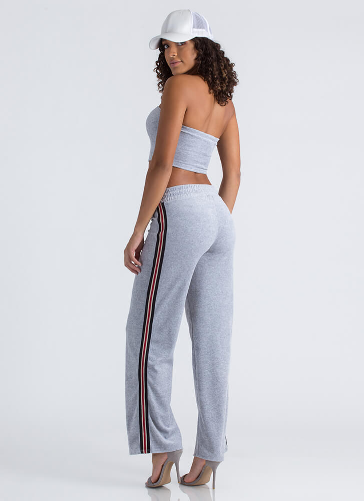 Terry On Striped Tube Top And Pant Set GREY