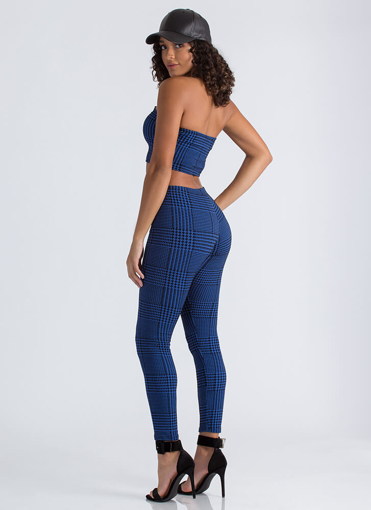 Houndstooth Fairy Tube Top And Pant Set ROYAL