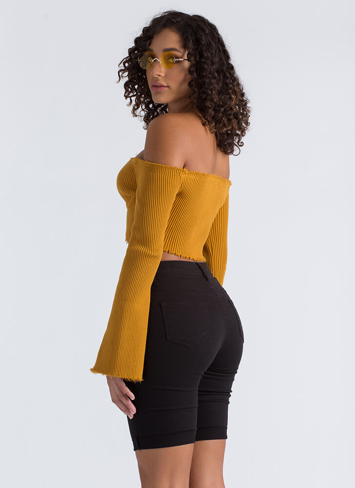 Busted Ribbed Off-Shoulder Crop Top MUSTARD