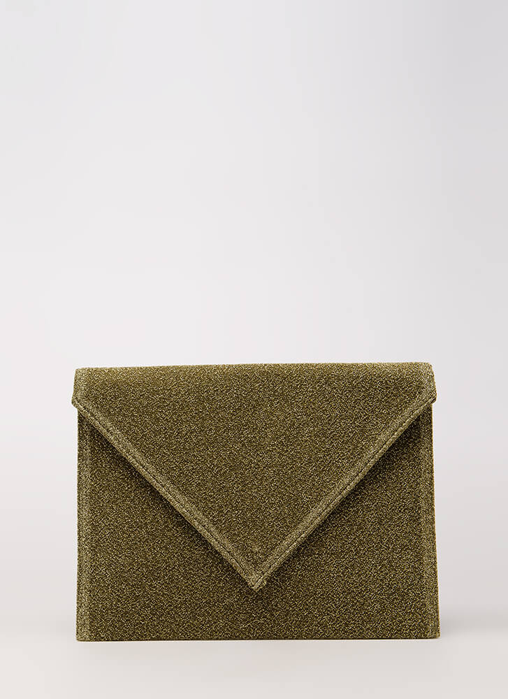 Go For Glitter Sparkly Envelope Clutch GOLD