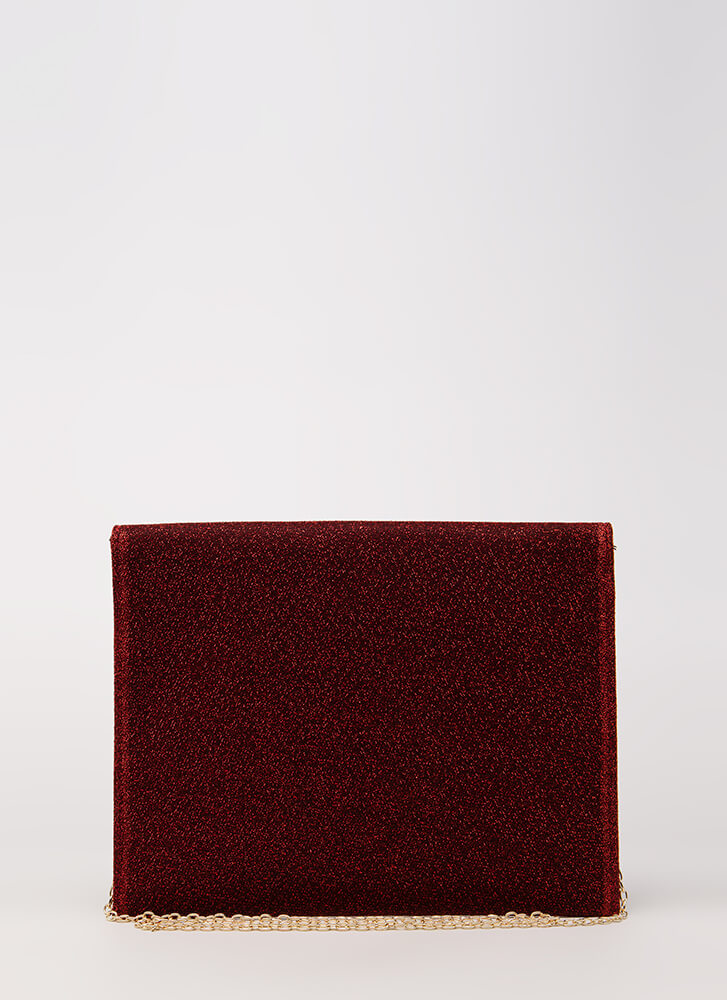Go For Glitter Sparkly Envelope Clutch RED