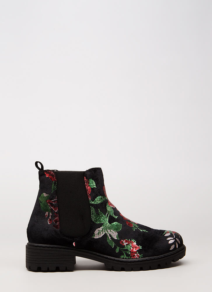 Foiled Flowers Velvet Lug Sole Booties BLACK