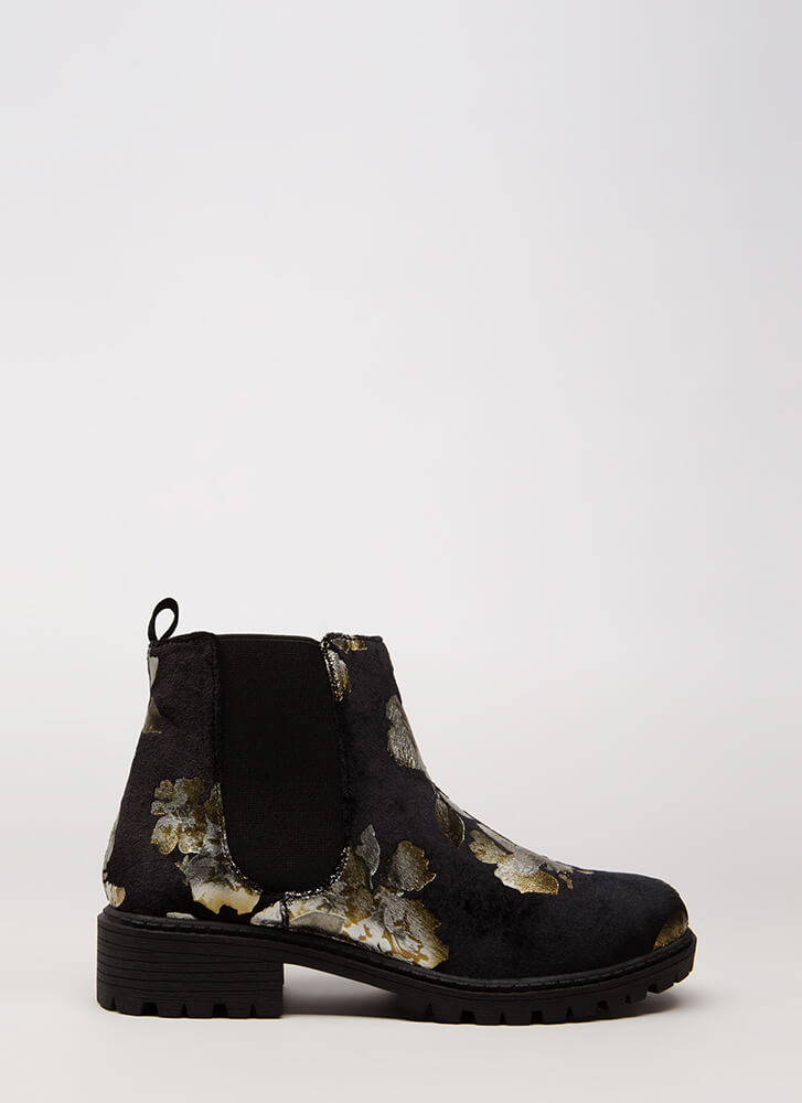 Foiled Flowers Velvet Lug Sole Booties GOLD