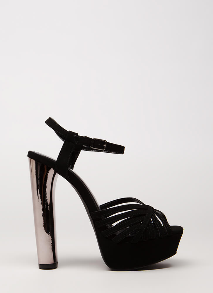 Oh-So-Strappy Caged Chunky Heels BLACK