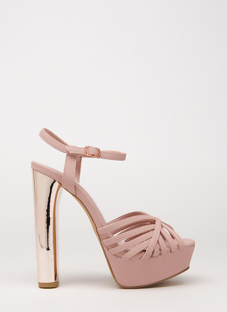 Oh-So-Strappy Caged Chunky Heels MAUVE