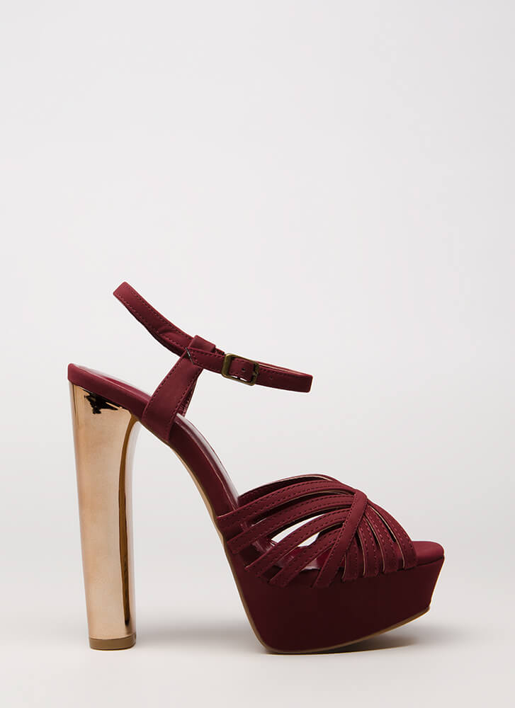 Oh-So-Strappy Caged Chunky Heels WINE