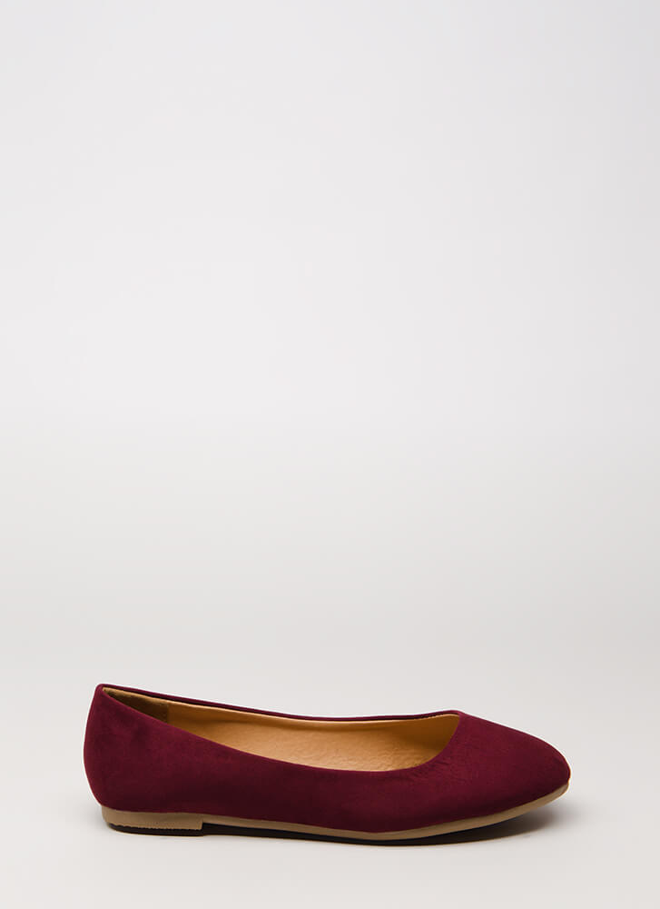 Happy Dance Faux Suede Ballet Flats BURGUNDY