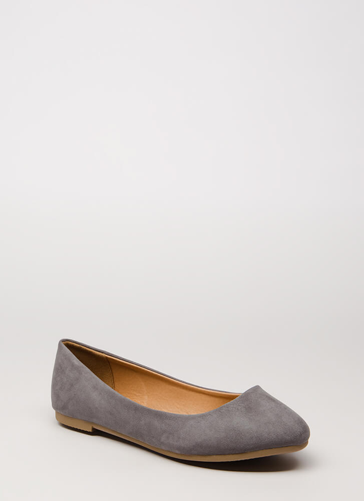 Happy Dance Faux Suede Ballet Flats CHARCOAL