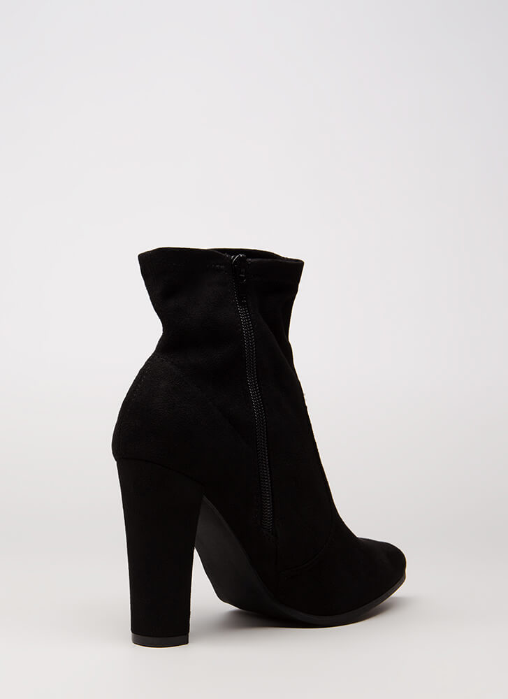 Going Strong Chunky Faux Suede Booties BLACK