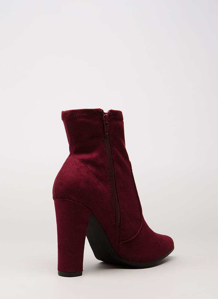 Going Strong Chunky Faux Suede Booties BURGUNDY