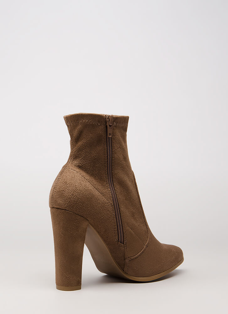 Going Strong Chunky Faux Suede Booties TAUPE