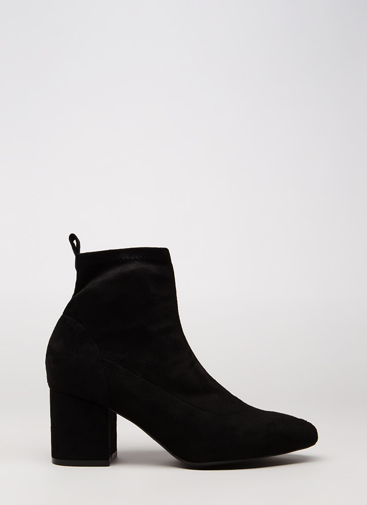 Chic City Chunky Faux Suede Booties BLACK
