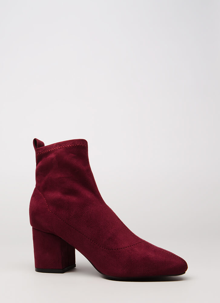 Chic City Chunky Faux Suede Booties BURGUNDY