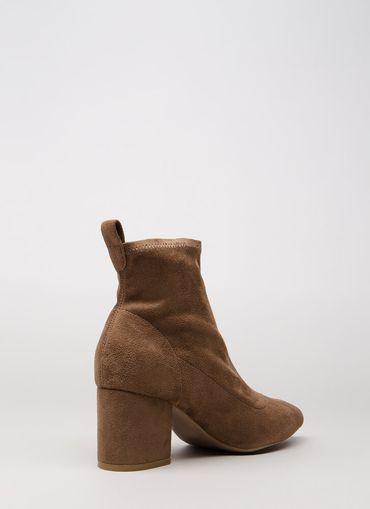 Chic City Chunky Faux Suede Booties TAUPE