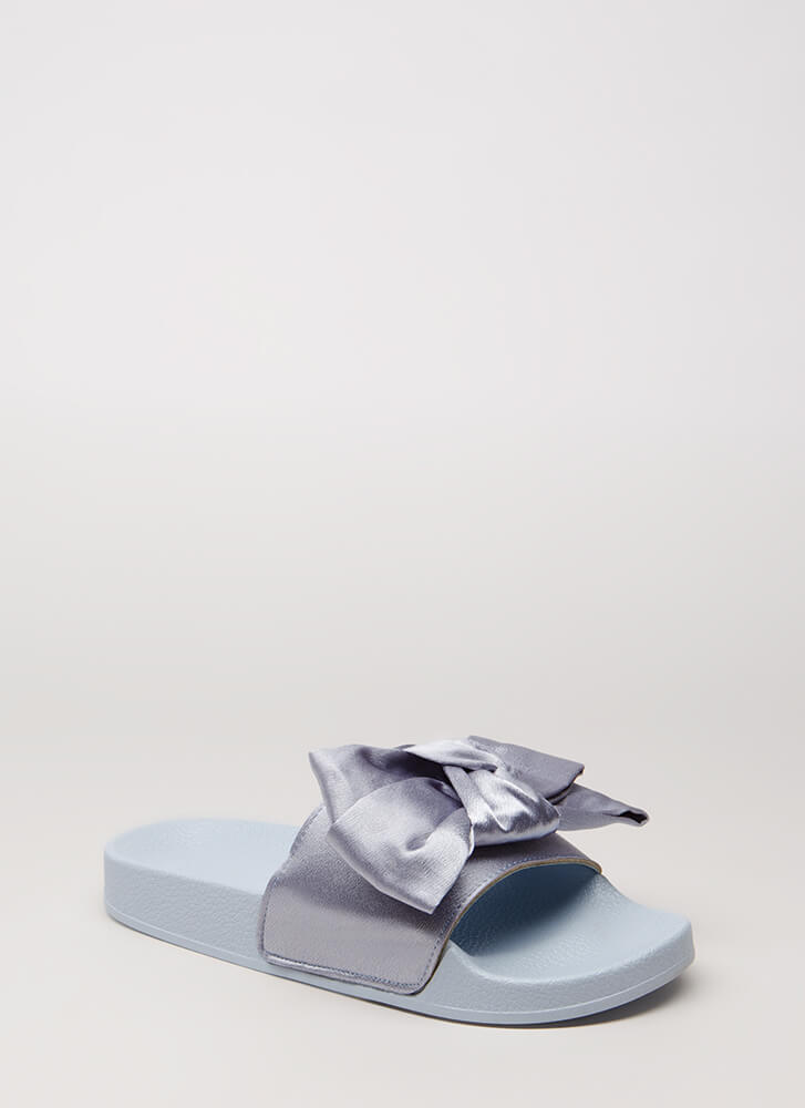 Put A Bow On It Satin Slide Sandals BLUE