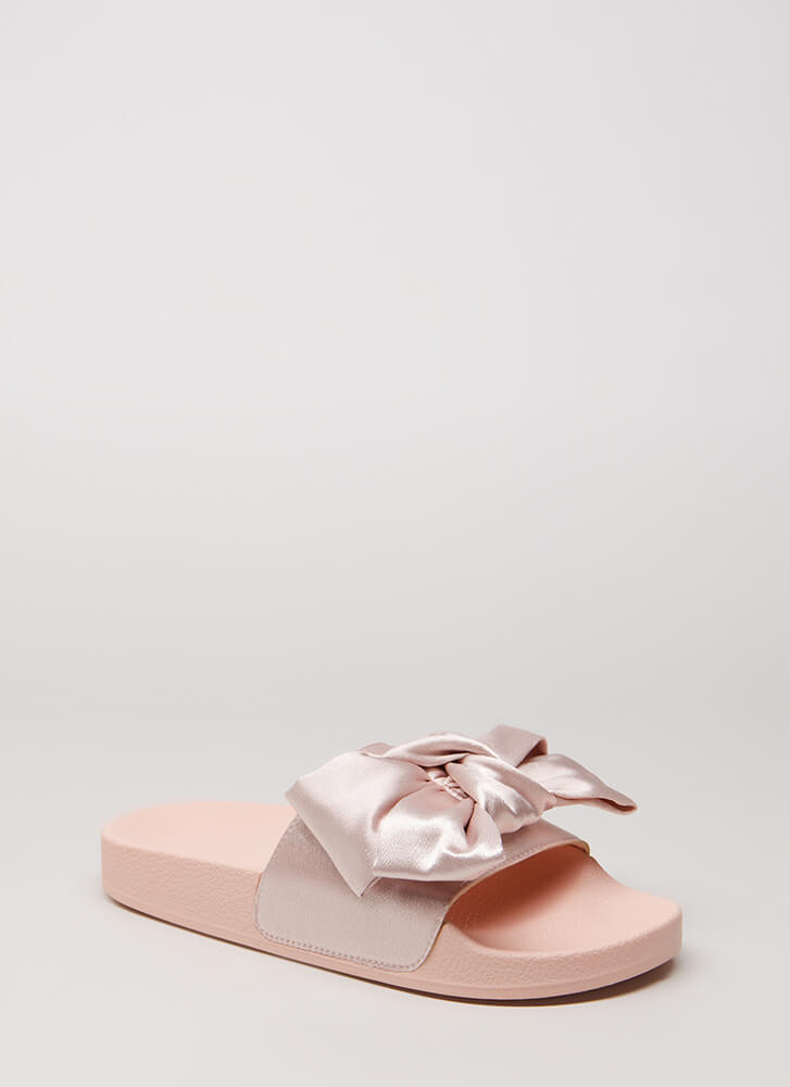 Put A Bow On It Satin Slide Sandals BLUSH