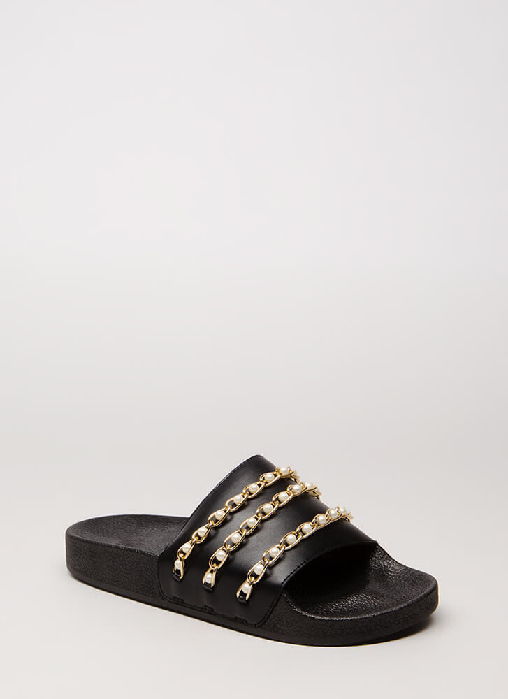 Both Worlds Pearl Chain Slide Sandals BLACKBLACK