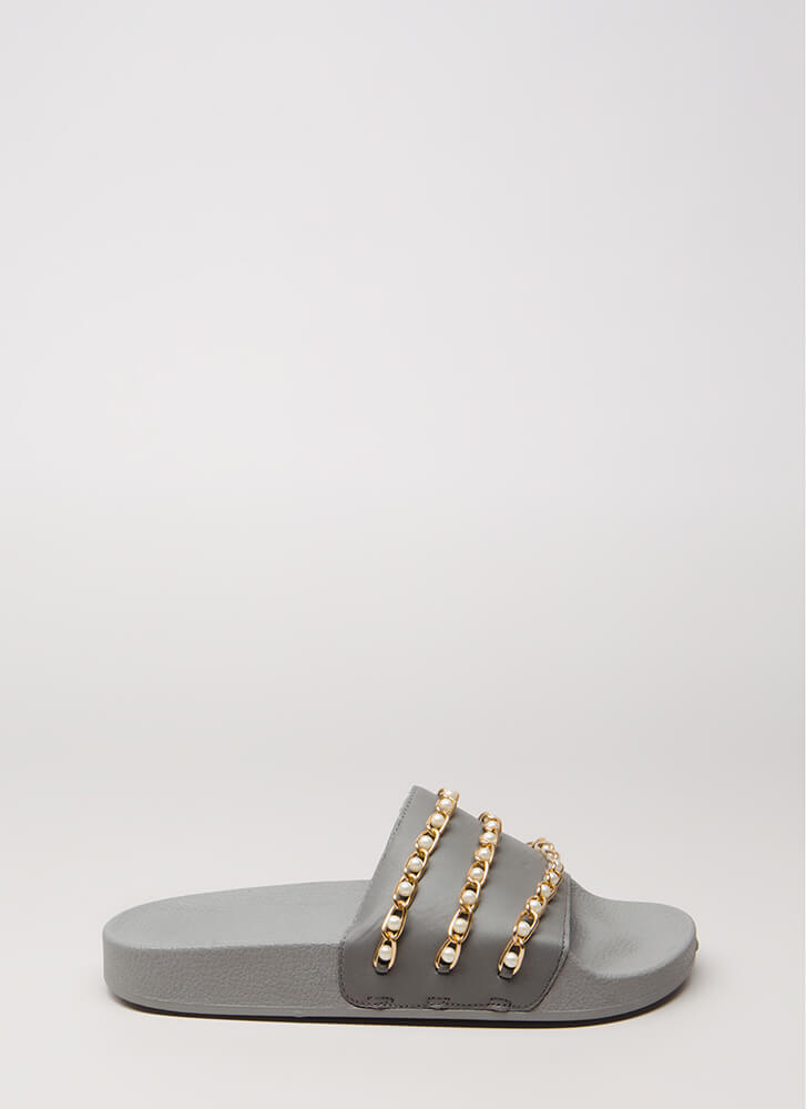 Both Worlds Pearl Chain Slide Sandals GREYGREY