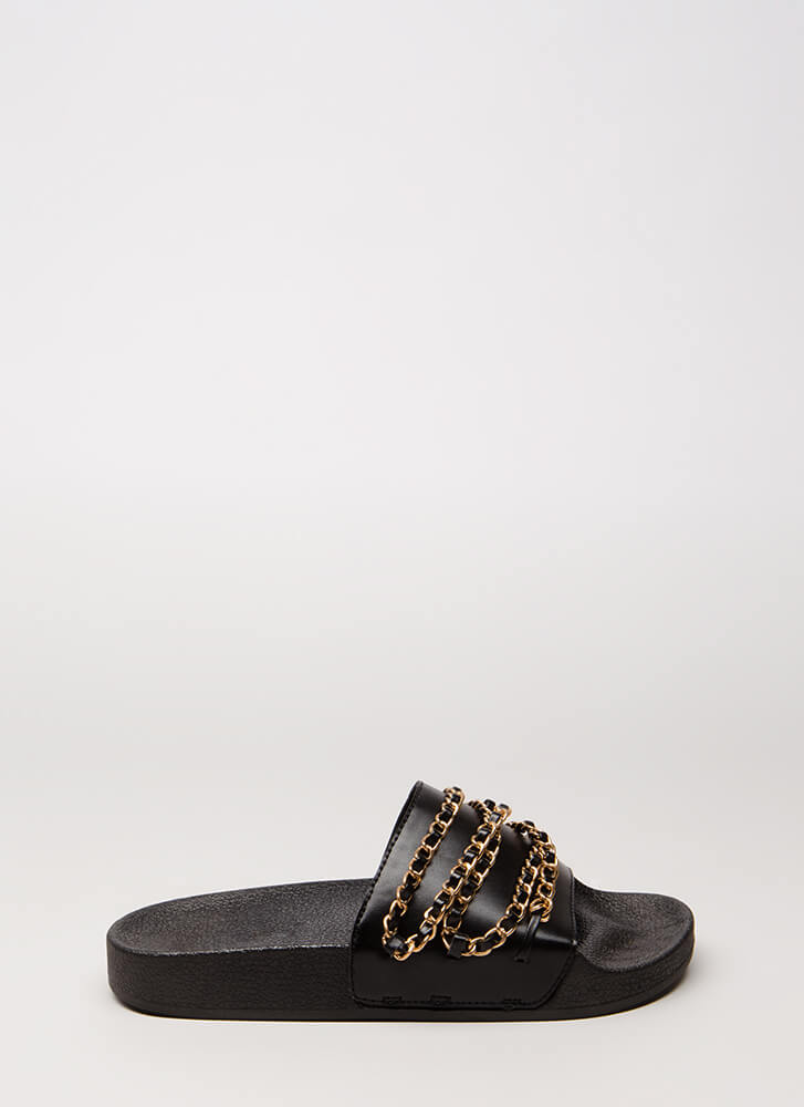Chain Letter Strappy Slide Sandals BLACK
