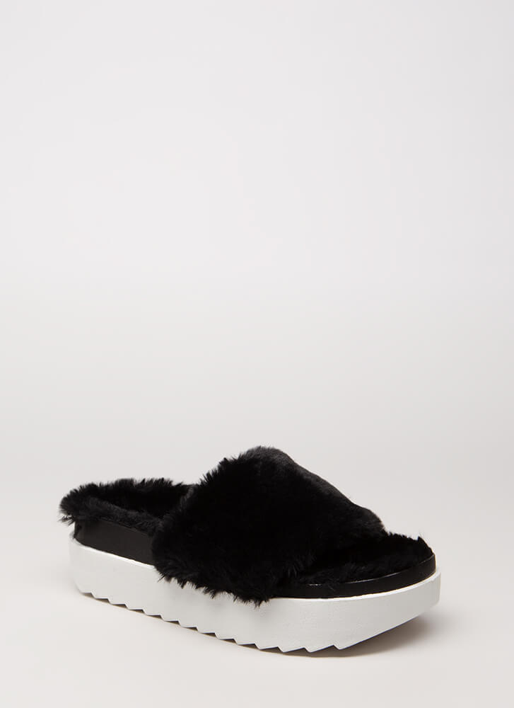 Plush Into It Faux Fur Slide Sandals BLACKWHITE