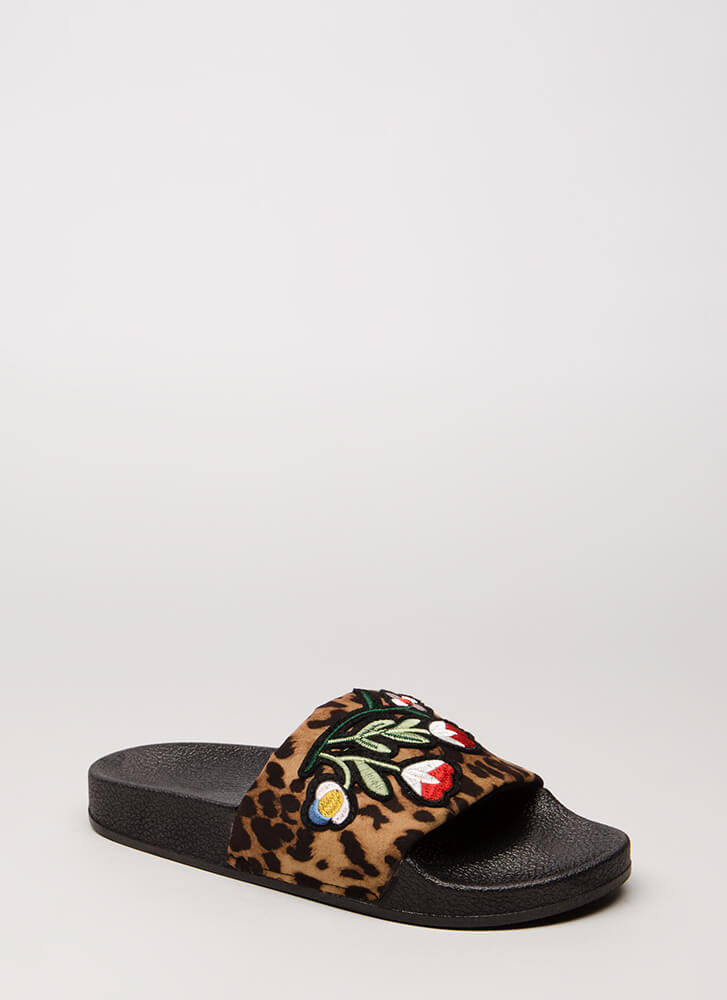 Wild Flower Leopard Slide Sandals LEOPARD