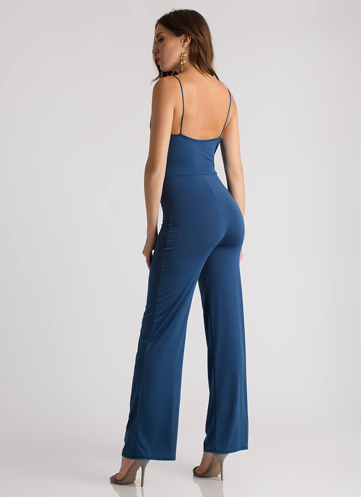 Go With The Flow Draped Cowl Jumpsuit TEAL