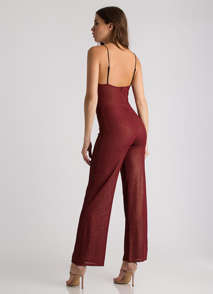 Go Glittery Wide-Leg Cowl Jumpsuit RUST (Final Sale)