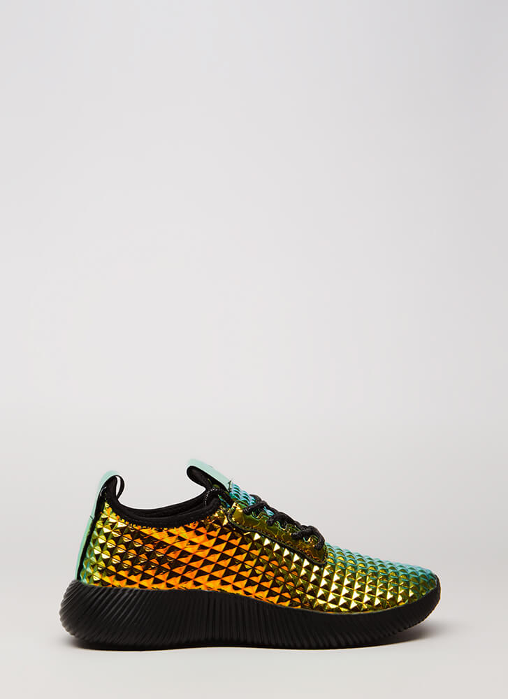 A Mirage Studded Hologram Sneakers GREEN