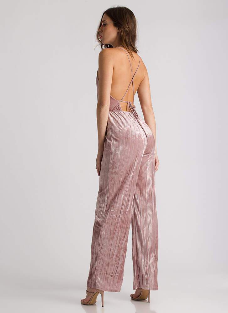 Pleats Don't Go Plunging Velvet Jumpsuit MAUVE