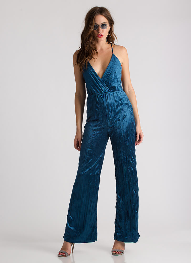 Pleats Don't Go Plunging Velvet Jumpsuit TEAL