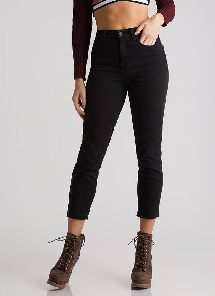 Cut You Off Cropped High-Waisted Jeans BLACK