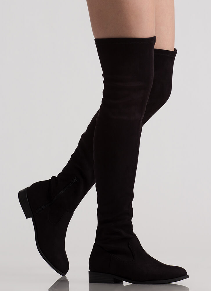 On Your Feet Faux Suede Thigh-High Boots BLACK