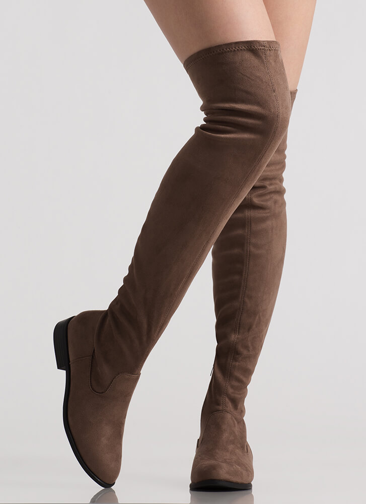 On Your Feet Faux Suede Thigh-High Boots DKTAUPE