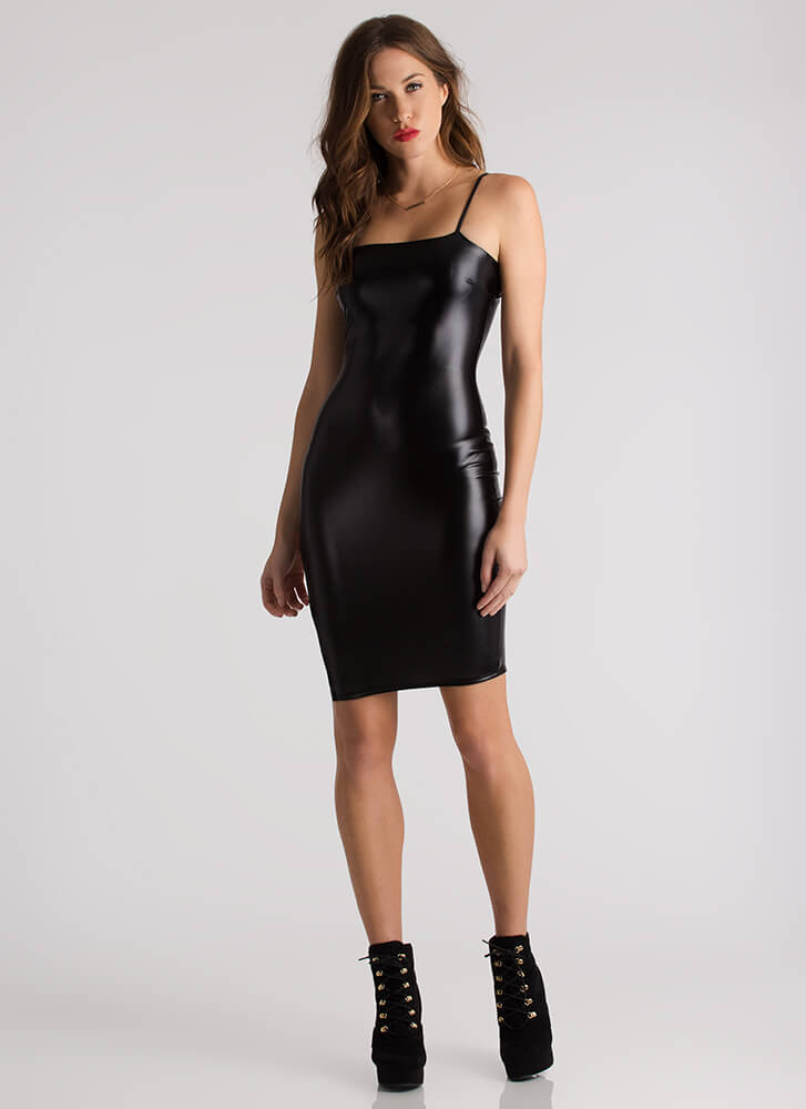 I'm Strapped Cut-Out Faux Leather Dress BLACK