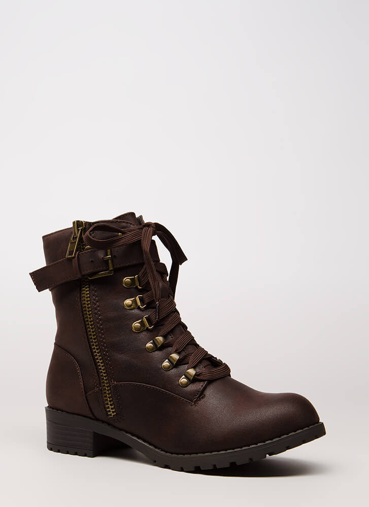 New Tricks Lug Sole Combat Boots DKBROWN
