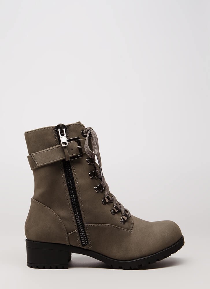 New Tricks Lug Sole Combat Boots GREY