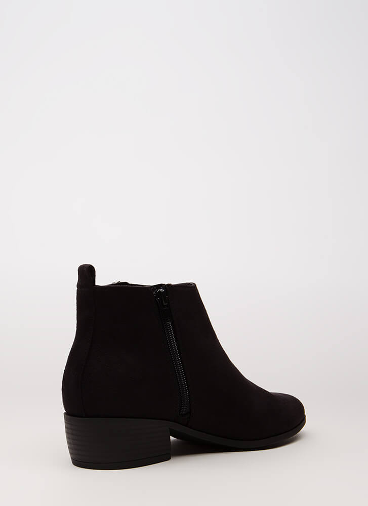 Too Stylish Chunky Faux Suede Booties BLACK