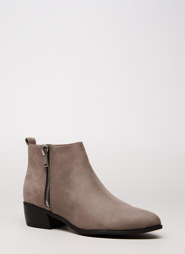 Too Stylish Chunky Faux Suede Booties GREY