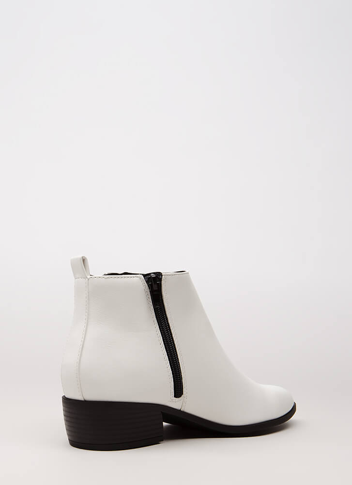 Too Stylish Chunky Faux Leather Booties WHITE