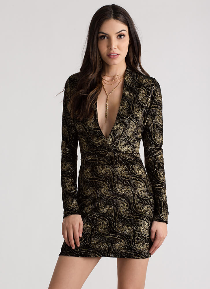 Going Glittery Plunging Velvet Dress BLACKGOLD