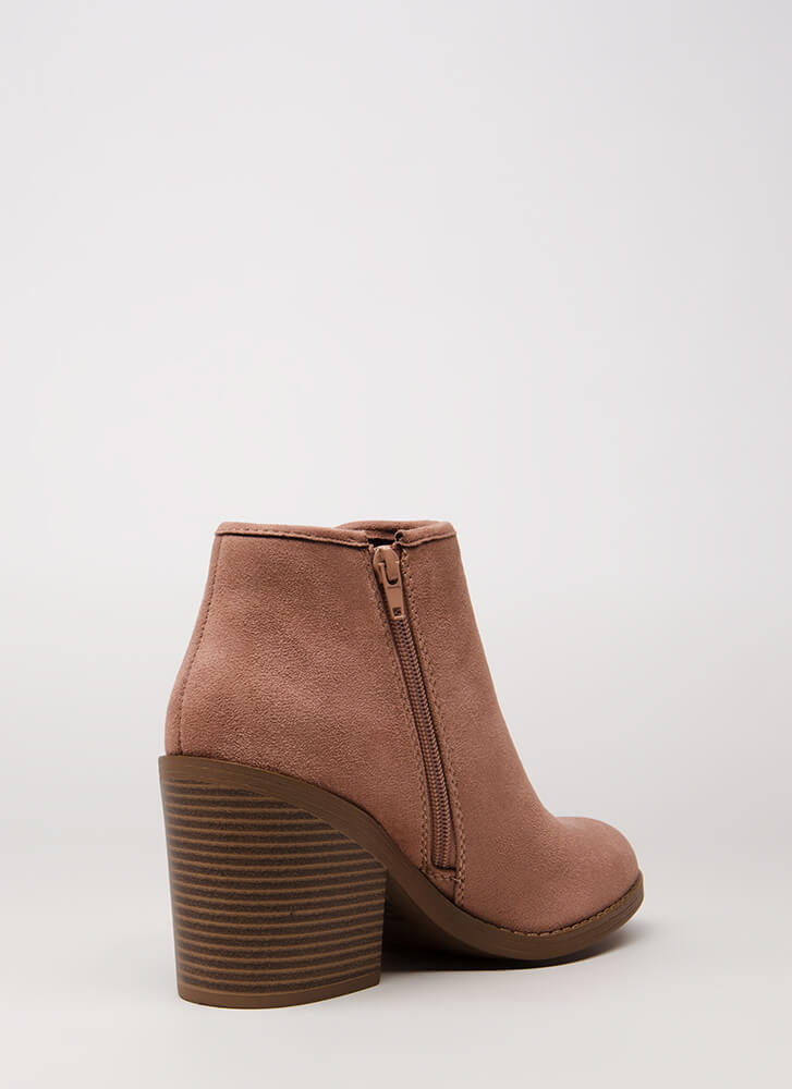 Getting Thick Notched Block Heel Booties DKBLUSH (Final Sale)