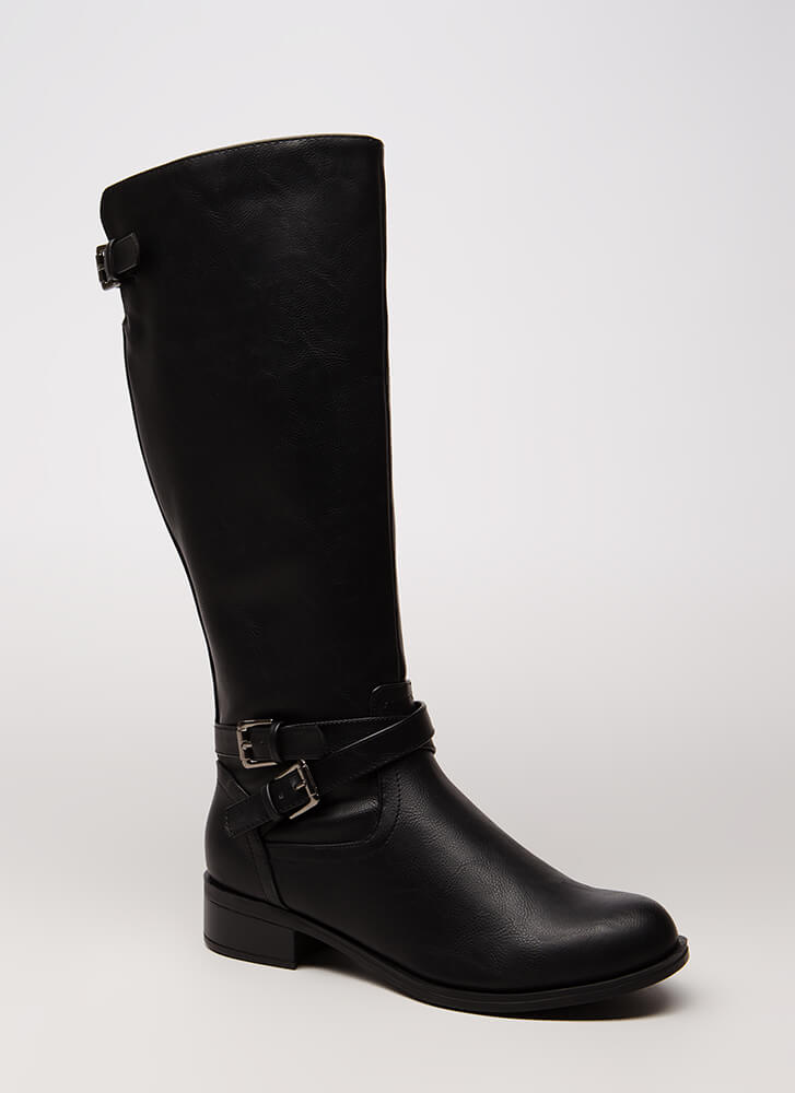 Champion Style Strappy Riding Boots BLACK