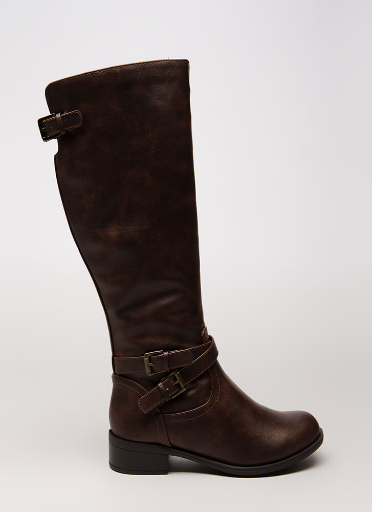 Champion Style Strappy Riding Boots BROWN