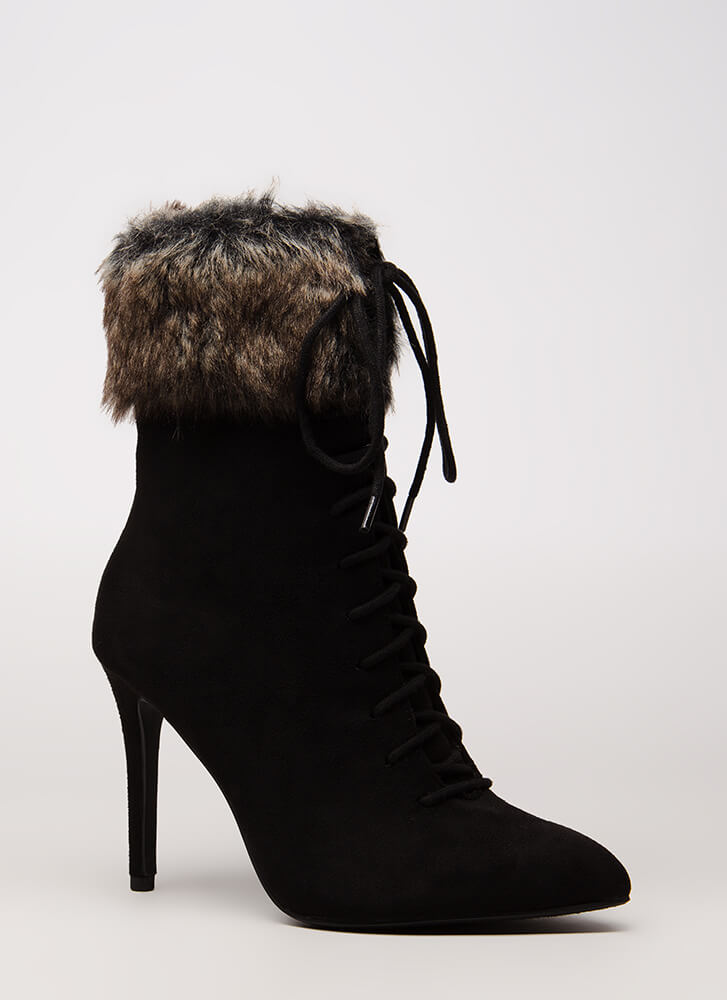 Fur The Long Run Pointy Lace-Up Booties BLACK