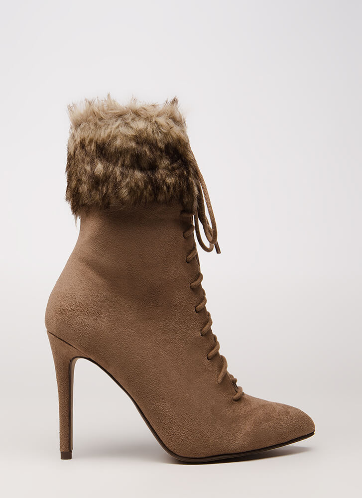 Fur The Long Run Pointy Lace-Up Booties TAUPE