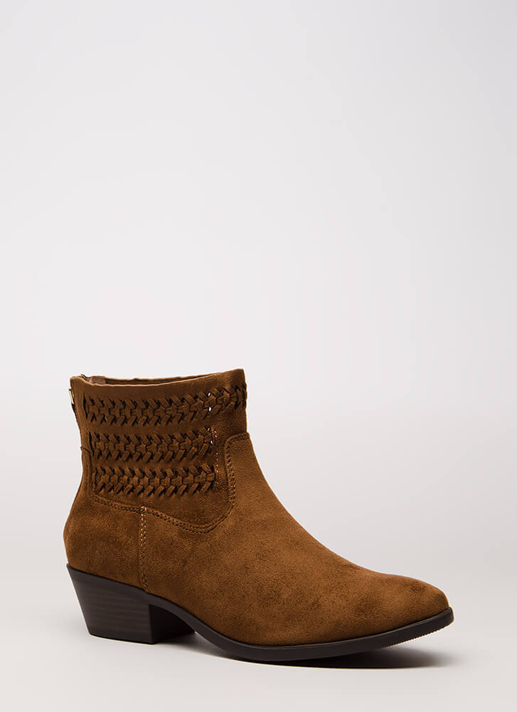 Weave A Tale Block Heel Booties CHESTNUT