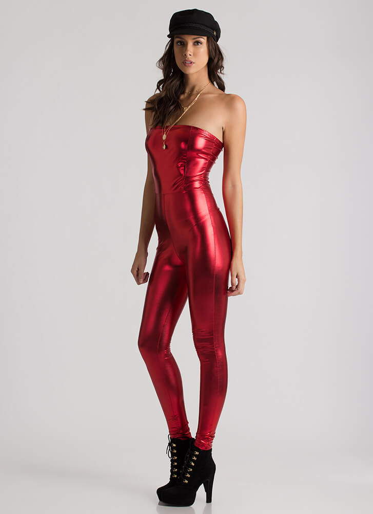 Pour In Strapless Faux Leather Jumpsuit RED
